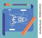 blueprint with spaceship sketch ...
