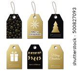 christmas gift tags. vector... | Shutterstock .eps vector #500827093