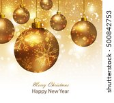 greeting card with gold... | Shutterstock . vector #500842753
