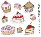 cake . yummy cute background.... | Shutterstock .eps vector #500852143