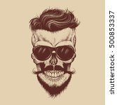 hipster skull with sunglasses ... | Shutterstock .eps vector #500853337