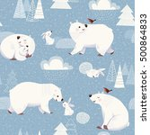Stock vector winter vector seamless pattern with cute polar bears and rabbits and christmas decorations 500864833