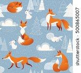 winter vector seamless pattern... | Shutterstock .eps vector #500865007