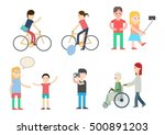 people in park icons various... | Shutterstock .eps vector #500891203
