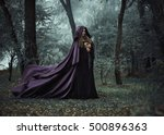 on eve of halloween witch casts ... | Shutterstock . vector #500896363