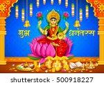 illustration of goddess lakshmi ... | Shutterstock .eps vector #500918227