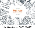 fast food top view frame. fast... | Shutterstock .eps vector #500921497