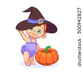 halloween party art with a cute ... | Shutterstock .eps vector #500942827