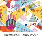 memphis seamless pattern.... | Shutterstock .eps vector #500949907