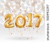 metallic gold letter balloons ... | Shutterstock .eps vector #500992297