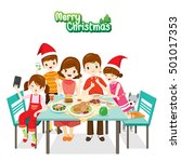 happy family eating together ... | Shutterstock .eps vector #501017353