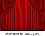 vector red stage curtains drawn ... | Shutterstock .eps vector #50102191