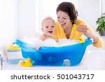 Happy Baby Taking A Bath...