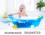 happy laughing baby taking a... | Shutterstock . vector #501043723
