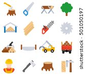 sawmill  icons set. woodworking ...   Shutterstock .eps vector #501050197