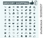 grocery shopping icons | Shutterstock .eps vector #501050257