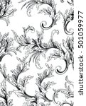 pattern with baroque swirls... | Shutterstock .eps vector #501059977
