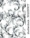 pattern with baroque swirls... | Shutterstock .eps vector #501059977