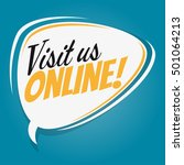 visit us online retro speech...   Shutterstock .eps vector #501064213
