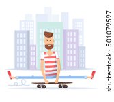 skateboarder doing tricks on a... | Shutterstock .eps vector #501079597