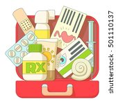 first aid kit icons set. flat... | Shutterstock .eps vector #501110137