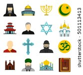 religious symbol icons set.... | Shutterstock .eps vector #501113413