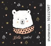 cute white bear head with... | Shutterstock .eps vector #501117097