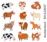 milk cow with calf bull buffalo ... | Shutterstock .eps vector #501123037