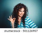beautiful young woman showing... | Shutterstock . vector #501126907
