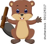 beaver cartoon | Shutterstock . vector #501129217