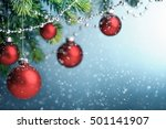 red christmas balls hanging on... | Shutterstock . vector #501141907