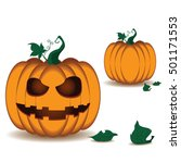 pumpkin scary face of happy... | Shutterstock .eps vector #501171553