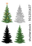set christmas trees  with... | Shutterstock .eps vector #501201637