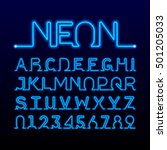 one thin line neon tube font.... | Shutterstock .eps vector #501205033