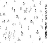 seamless pattern of tiny people ... | Shutterstock .eps vector #501220543