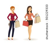 young beautiful fashion girls... | Shutterstock .eps vector #501229333