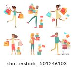 set of shopping people ... | Shutterstock . vector #501246103