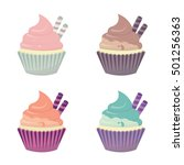 set of cute vector cupcakes and ... | Shutterstock .eps vector #501256363