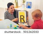 speech therapist teaches the... | Shutterstock . vector #501262033