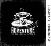 vintage retro submarine with... | Shutterstock .eps vector #501284947