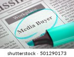 Stock photo media buyer job vacancy in newspaper circled with a azure marker blurred image selective focus 501290173
