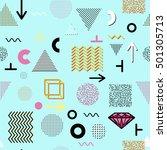 trendy geometric elements... | Shutterstock . vector #501305713