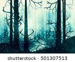 winter foggy forest at night... | Shutterstock . vector #501307513