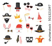 photo booth party icons set... | Shutterstock .eps vector #501321097