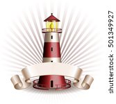nautical emblem with red... | Shutterstock .eps vector #501349927