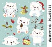 vector cartoon style cute polar ... | Shutterstock .eps vector #501359353