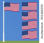 us flag on the flagpole. set of ... | Shutterstock .eps vector #501360253