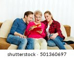 happy family   couple with old... | Shutterstock . vector #501360697