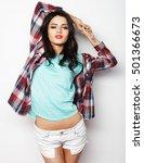 beautiful woman wearing casual... | Shutterstock . vector #501366673