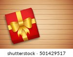 gift box on brown wooden table. ... | Shutterstock .eps vector #501429517